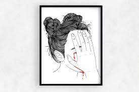 wall art a girl crying blood graphic