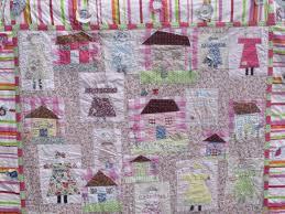 Modern Handmade Patchwork Quilt Girls Quilt Lap Quilt Cover With ... & modern handmade patchwork quilt girls quilt lap quilt cover with houses and  people Adamdwight.com