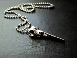 raven skull gothic necklace bird skull necklace vamps jewelry gothic victorian jewelry