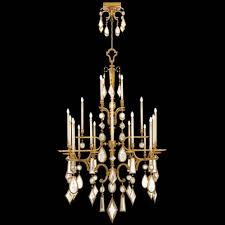 fine art lamps encased gems 24 light chandelier in variegated gold leaf finish with multi colored crystal gems