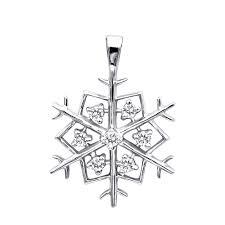14k gold diamond snowflake pendant 0 21ct white image
