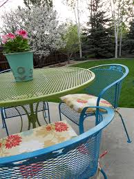 deck wrought iron table. Refurbishing Wrought Iron Furniture. I Love The Colors! Plan To Start  Working On This Soon For Our Deck. Deck Wrought Iron Table