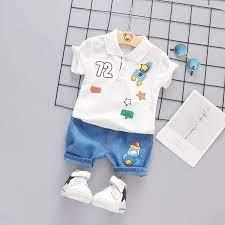 Bé Trai 0-5 Tuổi Thời Trang Hai Mảnh Mùa Hè Trẻ Em Quần Áo Trẻ Em Áo Thun  Cotton Quần Short Bé Trai Còn Hàng