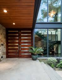 double front entry doors contemporary with concrete patio in plan 4