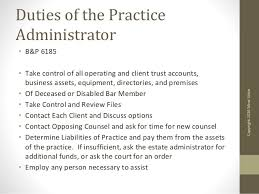 duties of administrator of estate california
