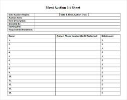 Bid Sheet For Silent Auction Printable Free 6 Printable Sample Silent Auction Bid Sheet Template Doc Download