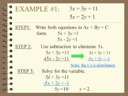 example 1 step 2 use subtraction to eliminate 5x