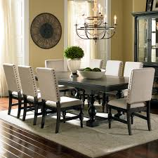 steve silver leona  piece dining room set in dark hand rubbed
