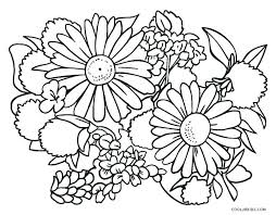 Spring Flowers Coloring Pages Free Daisy Bunch Three Leaf Flower