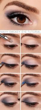 navy smokey eye makeup tutorial
