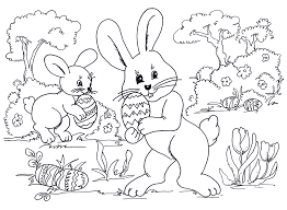 Easter Coloring Sheets Egg Hunting Bunnies