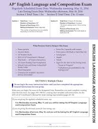 College Board Seating Chart Ap English Language And Composition Exam Instructions 2016