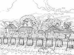 秋の稲わら干しの風景画の塗り絵 大人の塗り絵ー無料新着ぬりえ