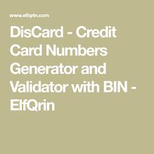 With Discard Bin Numbers Card Validator Generator Credit And wW8q8CYgOx