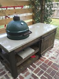 the perfect big green egg table with concrete top and barn door the lowcountry lady
