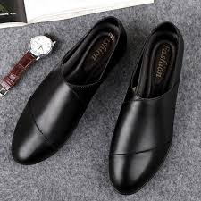 comfortable soft leather non slip wearable casual shoes for men color black size 45