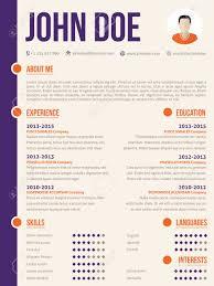 Simplistic Yet Colorful Modern Resume Cv Curriculum Vitae Template