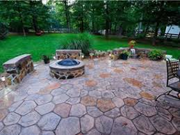 stamped concrete patio with fireplace. Fireplace And Backyard With Huge Stamped Concrete Patio I