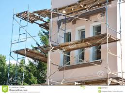 Stucco Painting And Plastering Exterior House Scaffolding Facade - Plastering exterior walls