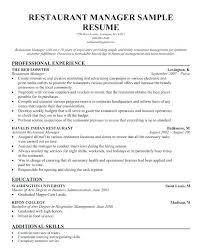 Assistant Manager Resume Example Restaurants Manager Resume