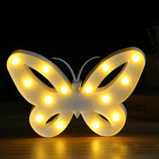 Crownstarbutterfly Led Lamp Night Lights 3d Led Letters Plastic