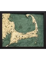 Nautical Wood Charts Woodcharts Cape Cod Sm Bathymetric 3 D Wood Carved Nautical Chart
