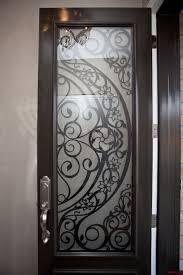 steel door with contemporary design lasercut door insert