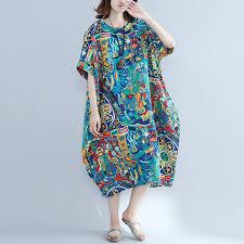 Summer Long Dress Women Cotton Print Dresses Casual Loose Retro Plus Size 4xl 5xl 6xl
