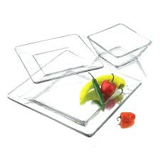 piece square dinnerware glass clear dishes salad plate bowl kitchen set for 4 plates red sets