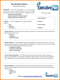 executive business plan template business plan executive summary business form templates