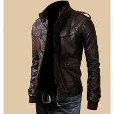 mens rocker slim fit brown genuine leather jacket dark brown jackets