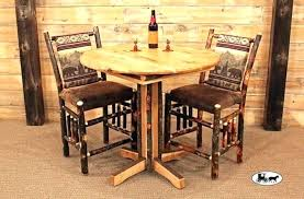 wood pub table amazing of rustic bistro and chairs with tables round cherry sets solid base