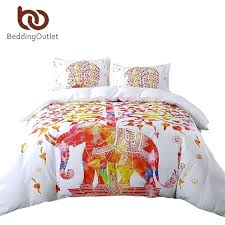 hollywood boho duvet cover set white and red bedding pillowcase elephant print exotic bedclothes boho duvet covers uk king
