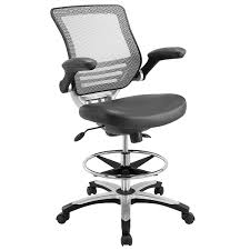 office drafting chair. Amazon.com: Modway Edge Drafting Chair In Gray Vinyl - Reception Desk Tall Office For Adjustable Standing Desks Flip-Up Arm Table