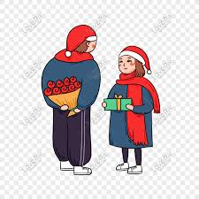 Cute Couple Png Hand Drawn Cartoon Vector Christmas Cute Couple Png