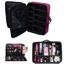 voilamart makeup train case 3 layer large 15 7 inch cosmetic organizer travel makeup artist storage bag with adjule shoulder strap for make up beauty