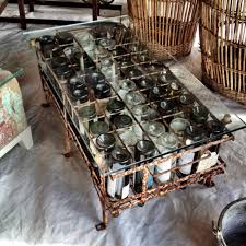 Wine bottle coffee table on display in Warrenton, TX this week-end.