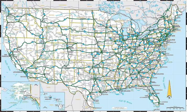 Image result for Road map of the United States