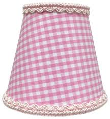 pink gingham empire chandelier lamp shade with decorative trim