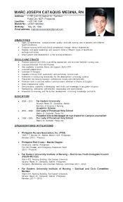 Filipino Nurse Resume Sample Applicant Resume Sample In The Co