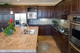 modern tile kitchen countertops. Unique Countertops Ceramic Tile Kitchen Countertops Designs With Antique Mini Pendant Lights  And Using Dark Brown Cabinet Colors Modern D