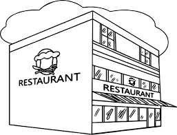 restaurant building clipart black and white.  And Restaurant Coloring Page Throughout Restaurant Building Clipart Black And White N