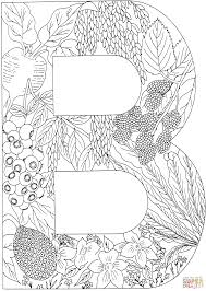 Small Picture Letter B with Plants coloring page Free Printable Coloring Pages