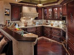 Cherry kitchen cabinets Gray Shop This Look Hgtvcom Cherry Kitchen Cabinets Pictures Options Tips Ideas Hgtv