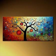 colorful tree of life modern art painting on canvas