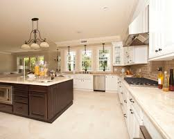 Tile Floor Kitchen White Cabinets