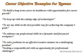 Writing A Resume Objective Impressive Sample Career Objectives Examples For Resumes RESUMESCARDS In