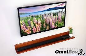 mahogany wood floating soundbar shelf