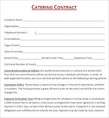 Catering Contract Samples 14 Images Of Free Sample Catering Contract Template Somaek Com
