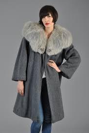 s grey fox fur wool swing coat  bustown modern